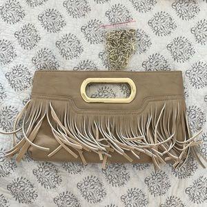 Tan fringe purse